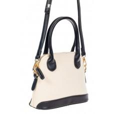 На фото 1 - Женская сумочка из искусственной кожи и брезентовой ткани, цвет молочный с чёрным