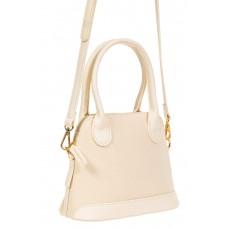 На фото 1 - Женская сумочка из искусственной кожи и брезентовой ткани, цвет молочный