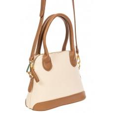 На фото 1 - Женская сумочка из искусственной кожи и брезентовой ткани, цвет молочный со светло-коричневым