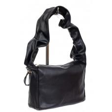 На фото 1 - Женская сумка из мягкой искусственной кожи с широкой ручкой, цвет чёрный