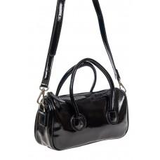 На фото 1 - Лаковая сумочка-багет из искусственной кожи, цвет чёрный