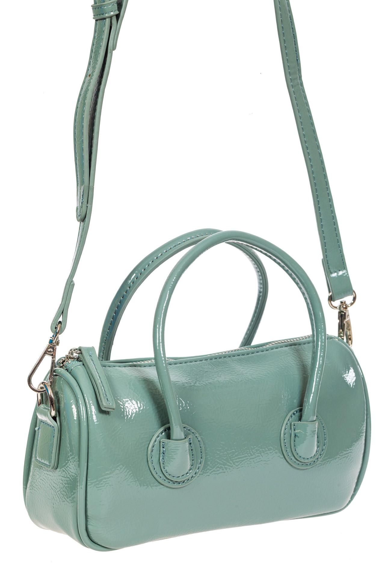 На фото 1 - Лаковая сумочка-багет из искусственной кожи, цвет бирюзовый