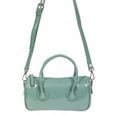 На фото 2 - Лаковая сумочка-багет из искусственной кожи, цвет бирюзовый