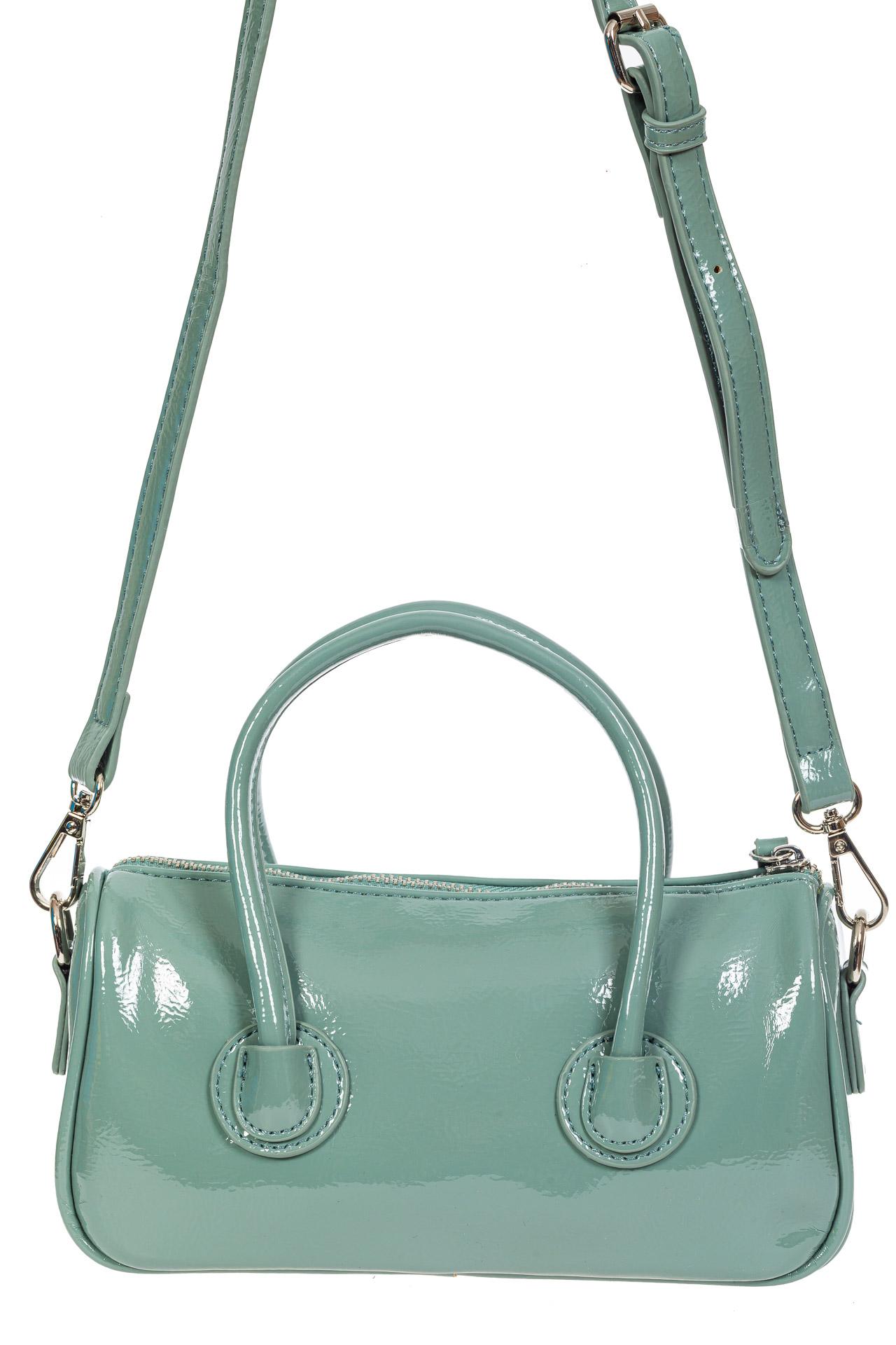 На фото 3 - Лаковая сумочка-багет из искусственной кожи, цвет бирюзовый