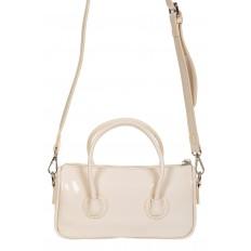На фото 3 - Лаковая сумочка-багет из искусственной кожи, цвет молочный