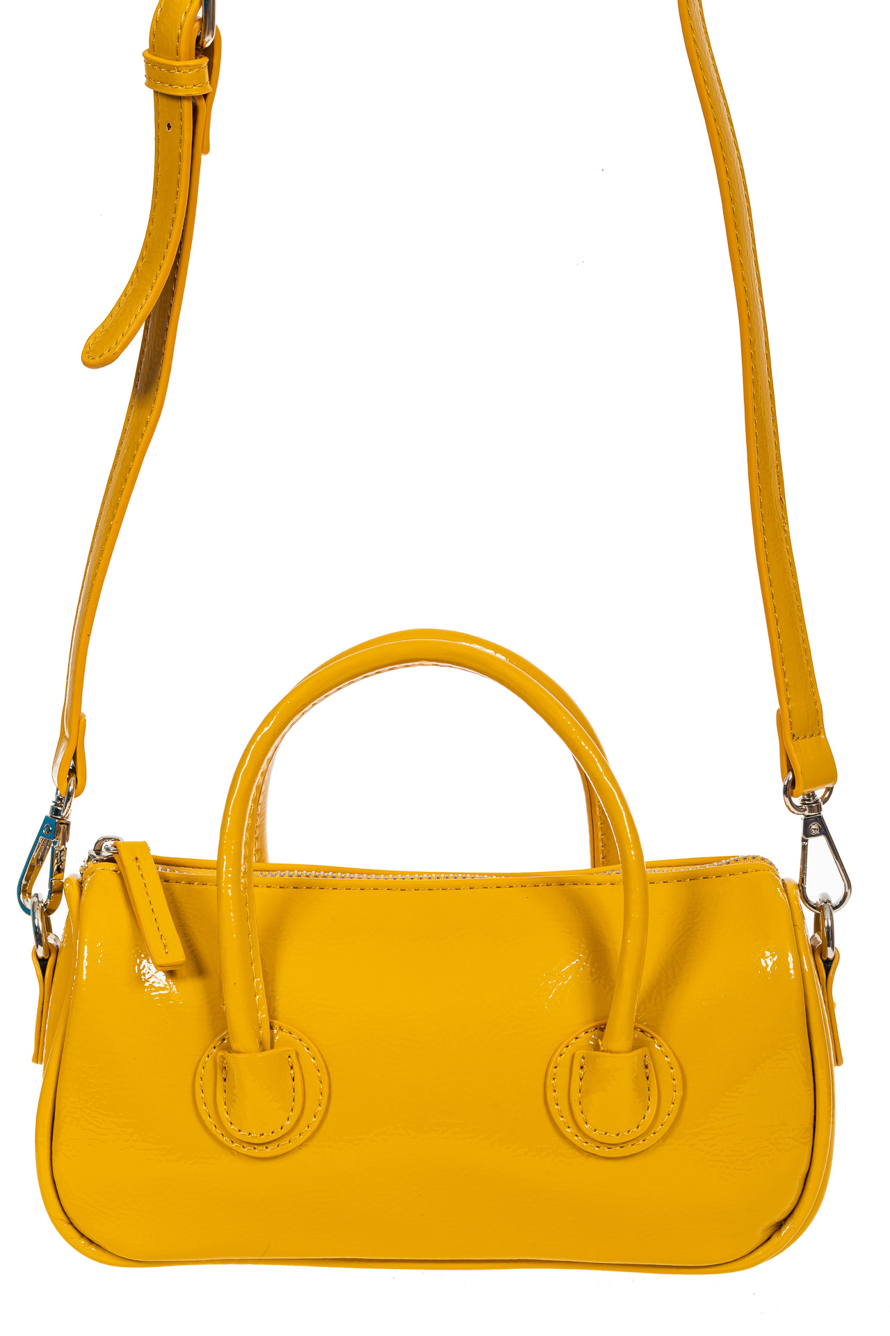 На фото 2 - Лаковая сумочка-багет из искусственной кожи, цвет жёлто-оранжевый