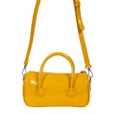 На фото 3 - Лаковая сумочка-багет из искусственной кожи, цвет жёлто-оранжевый