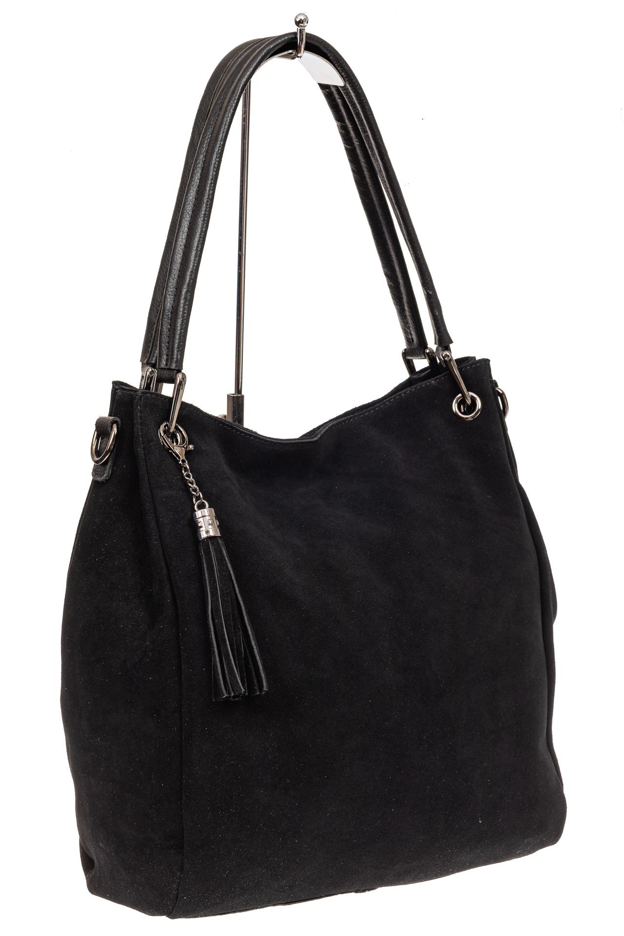 На фото 1 - Замшевая сумка тоут с кожаными ручками, цвет черный
