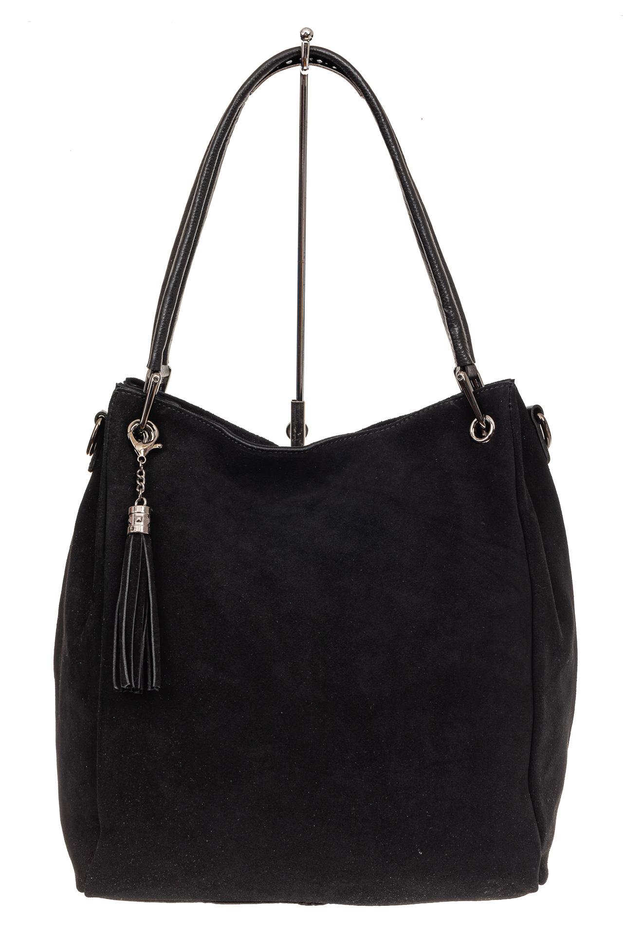 На фото 2 - Замшевая сумка тоут с кожаными ручками, цвет черный