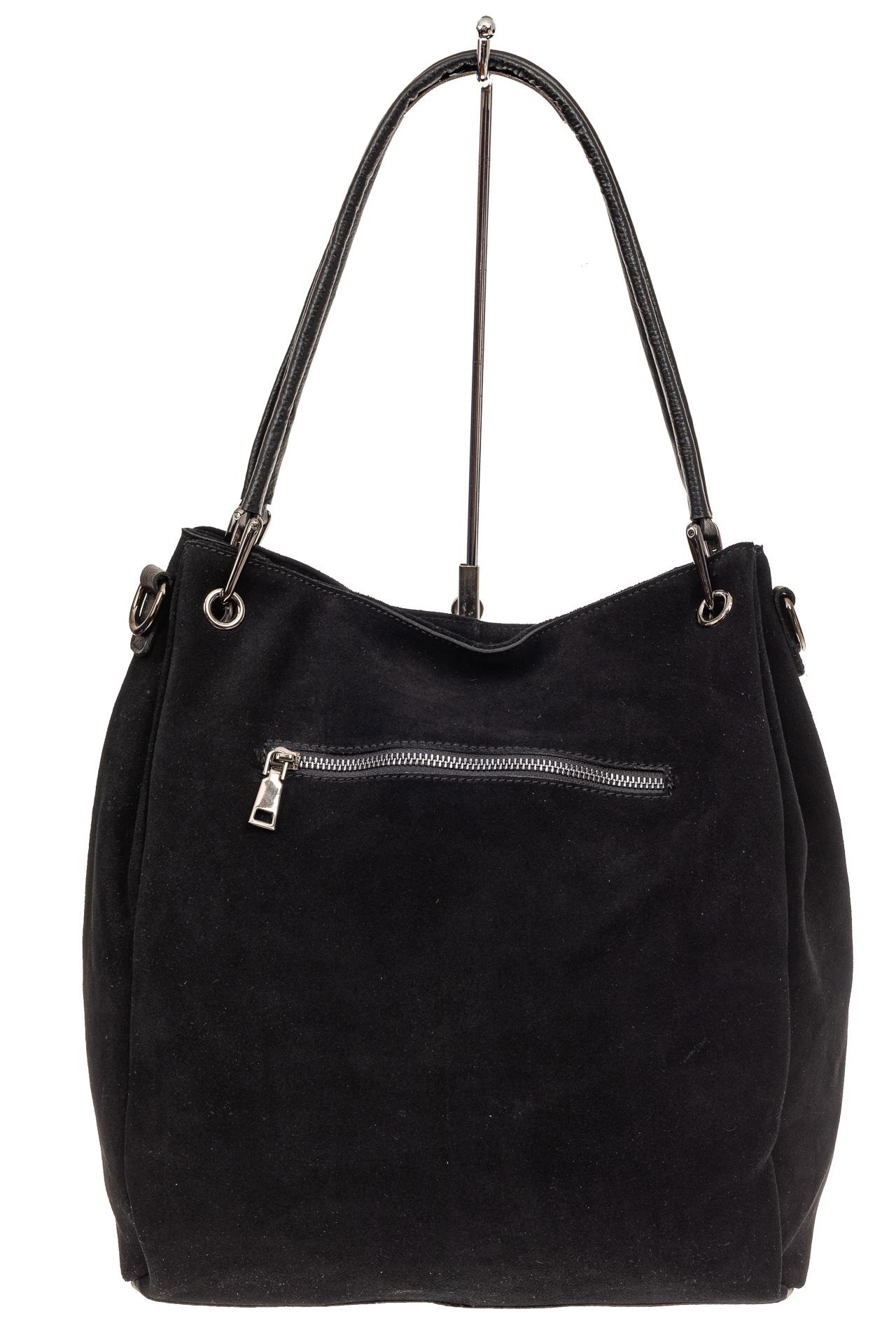 На фото 3 - Замшевая сумка тоут с кожаными ручками, цвет черный