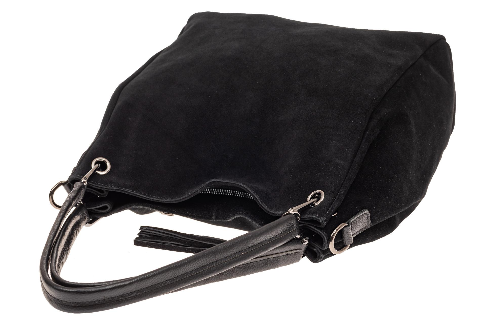 На фото 4 - Замшевая сумка тоут с кожаными ручками, цвет черный