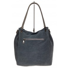 На фото 3 - Замшевая сумка тоут с кожаными ручками, цвет серо-голубой