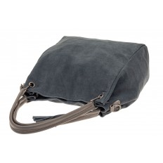 На фото 4 - Замшевая сумка тоут с кожаными ручками, цвет серо-голубой