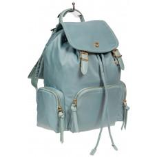 На фото 1 - Текстильный женский рюкзак, цвет голубой