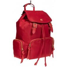 На фото 1 - Текстильный женский рюкзак, цвет красный