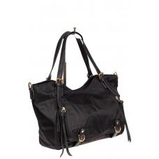 На фото 1 - Женская тканевая сумка, цвет чёрный