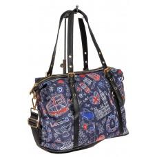 На фото 1 - Тканевая сумка, цвет синий с принтом