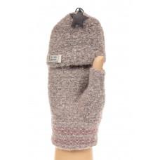 На фото 1 - Перчатки без пальцев женские, митенки, цвет серо-розовый