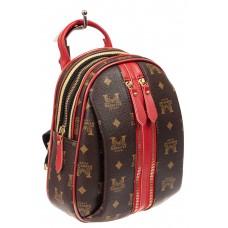 На фото 1 - Рюкзак  из искусственной кожи, цвет шоколад с принтом