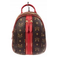 На фото 2 - Рюкзак  из искусственной кожи, цвет шоколад с принтом