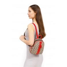 На фото 5 - Рюкзак  из искусственной кожи, цвет шоколад с принтом