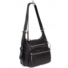 На фото 1 - Женская сумка-трансформер из текстиля, цвет чёрный с принтом