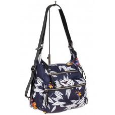 На фото 1 - Женская сумка-трансформер из текстиля, цвет синий с принтом