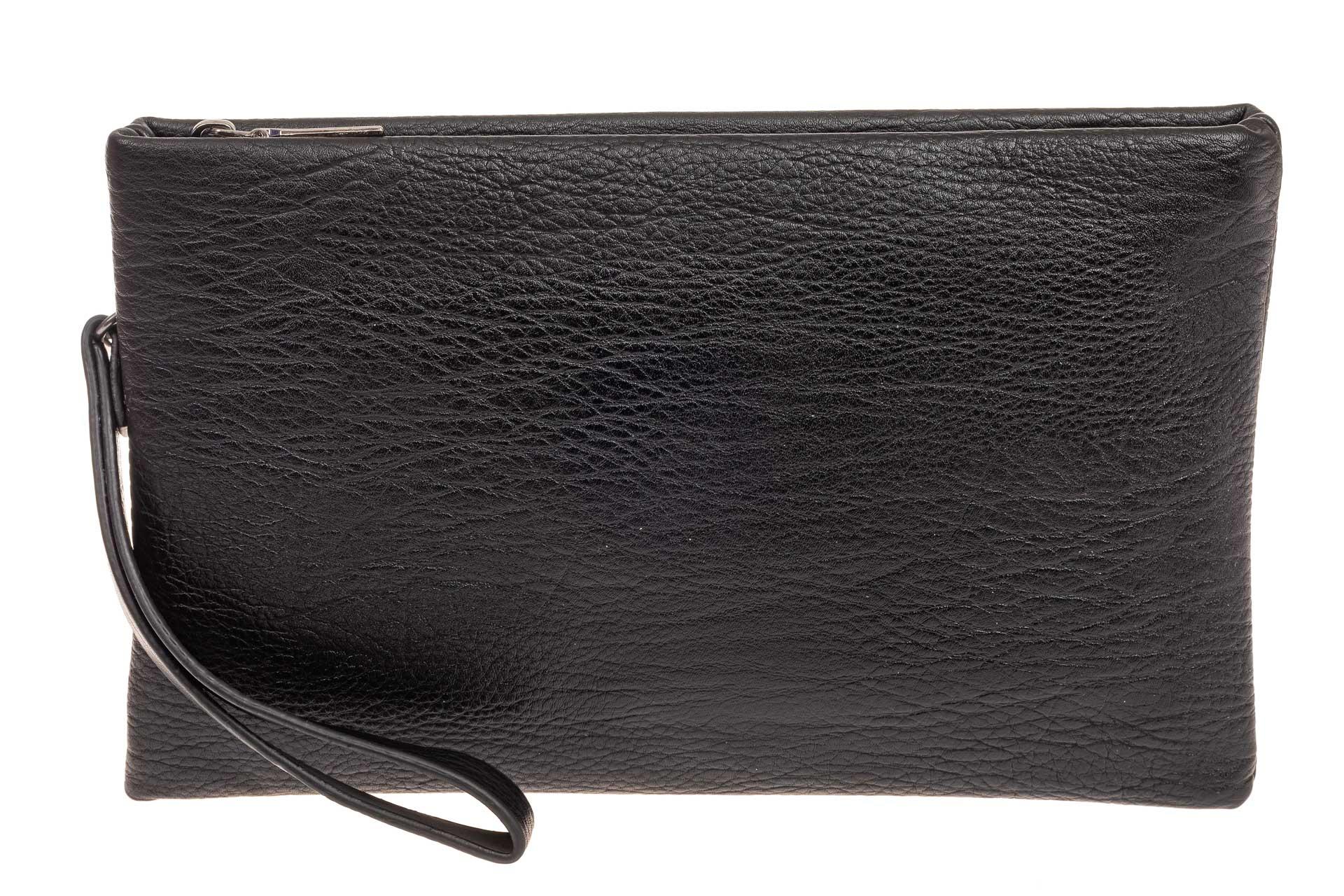 На фото 1 - Мужской мягкий клатч из натуральной кожи, цвет черный