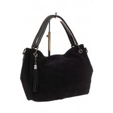 На фото 1 - Мягкая замшевая сумка, цвет черный