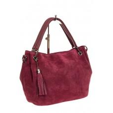 На фото 1 - Мягкая замшевая сумка, цвет бордовый