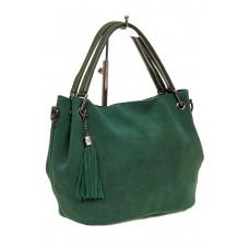 На фото 1 - Мягкая замшевая сумка, цвет зеленый