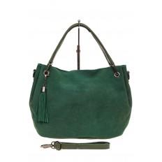На фото 2 - Мягкая замшевая сумка, цвет зеленый