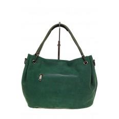 На фото 3 - Мягкая замшевая сумка, цвет зеленый