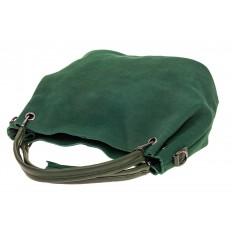 На фото 4 - Мягкая замшевая сумка, цвет зеленый