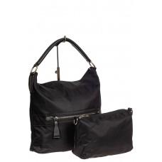 На фото 1 - Чёрная текстильная сумка с косметичкой