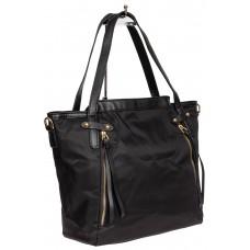 На фото 1 - Текстильный женский тоут,цвет чёрный с геометрическим узором
