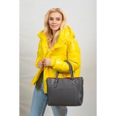 На фото 1 - Женская сумка тоут из гладкой экокожи, цвет серый
