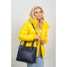 На фото 1 - Женская сумка тоут из гладкой экокожи, цвет синий