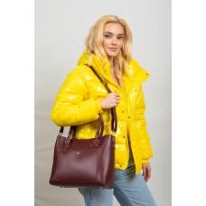 На фото 1 - Женская сумка тоут из гладкой экокожи, цвет бордовый