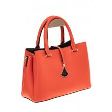На фото 1 - Женская сумка из натуральный кожи, цвет красный