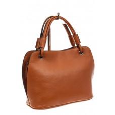 На фото 1 - Женская сумка из натуральной кожи, цвет рыж...