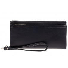 На фото 1 - Женский кошелёк-клатч из мягкой экокожи, цвет чёрный