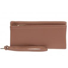 На фото 1 - Женский кошелёк-клатч из мягкой экокожи, цвет пыльная роза