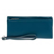 На фото 1 - Женский кошелёк-клатч из мягкой экокожи, цвет бирюзовый