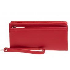 На фото 1 - Женский кошелёк-клатч из мягкой экокожи, цвет красный