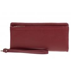 На фото 1 - Женский кошелёк-клатч из мягкой экокожи, цвет бордовый