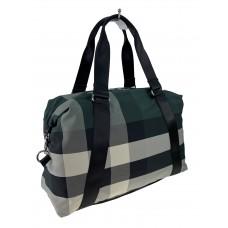 На фото 1 - Текстильная дорожная сумка с клетчатым принтом, мультицвет