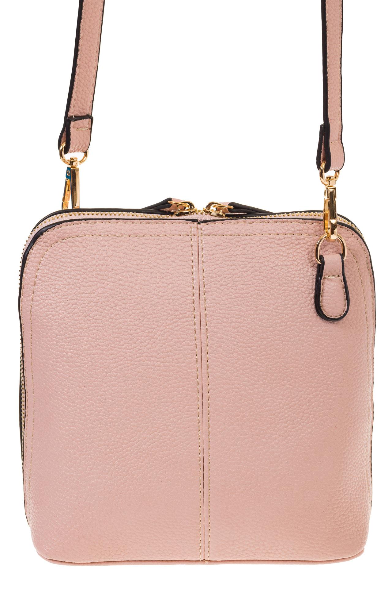 На фото 3 - Сумочка кросс-боди из эко-кожи розового цвета B003