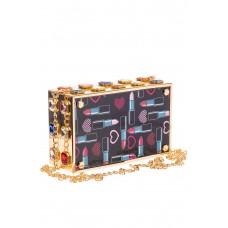 На фото 1 - Сумка-коробочка из пластика и искусственной кожи, цвет мультиколор, золото