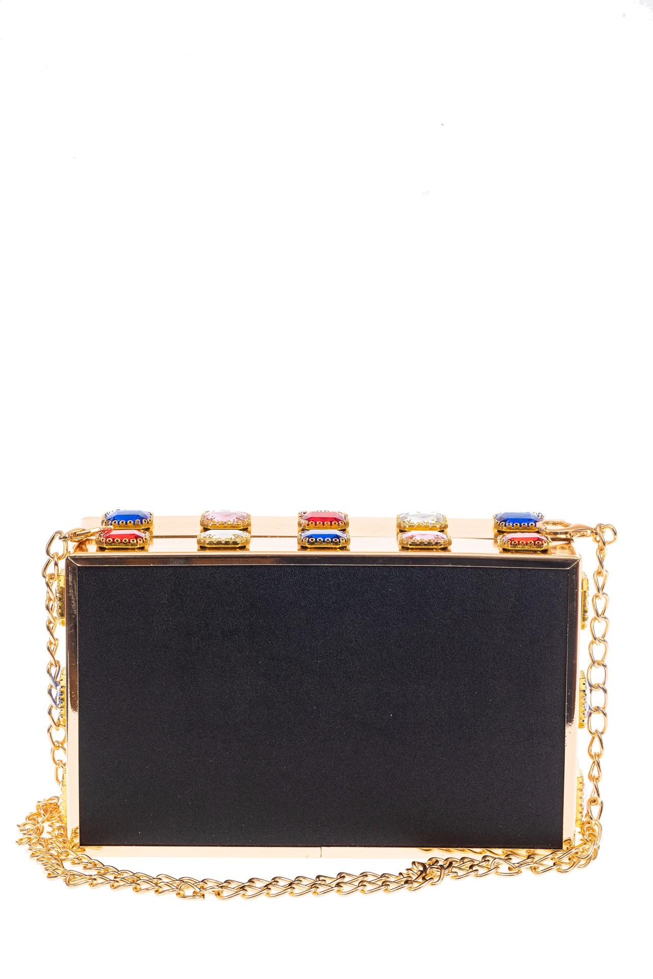 На фото 3 - Сумка-коробочка из пластика и искусственной кожи, цвет мультиколор, золото